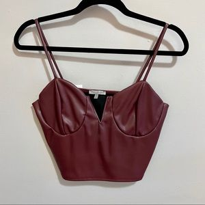 NWT! Maroon Faux Leather Cropped Bustier Top
